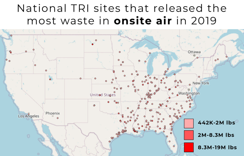 Mapped points range from 442 thousand pounds of onsite air releases to 19 million.