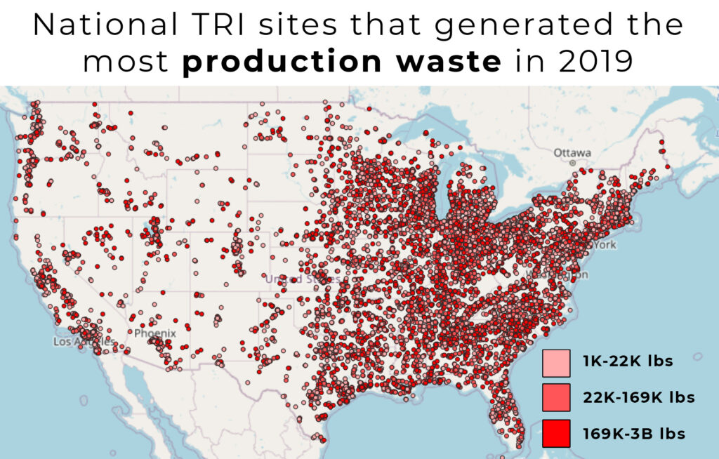 Mapped points range from 1,000 pounds of waste produced through regular industrial processes to 3 billion.