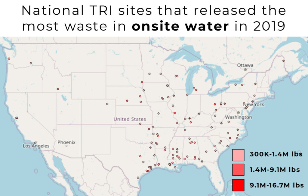 Mapped points range from 300 thousand pounds of onsite water releases to 16.7 million.