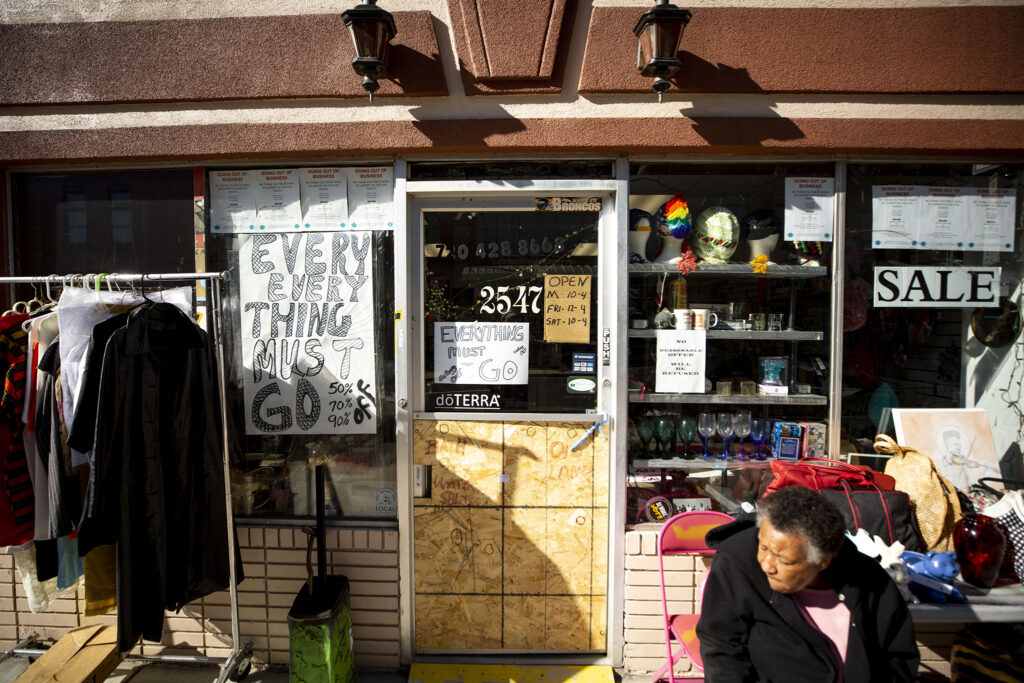 "An ""everything must go"" sale at Neat Stuff on Welton on the 2500 Block of Welton Street in Five Points. Feb. 8, 2021."