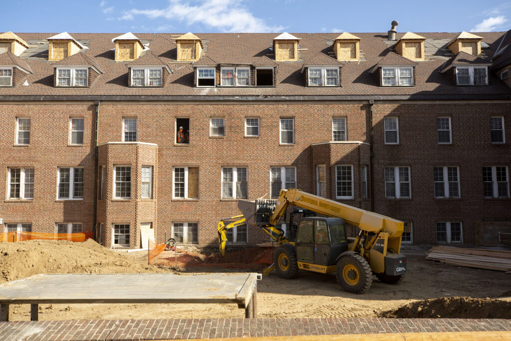 The historic Pancratia Hall is being renovated and will soon become full of affordable housing units on the Loretto Heights campus. Harvey Park South, Feb. 10, 2021.