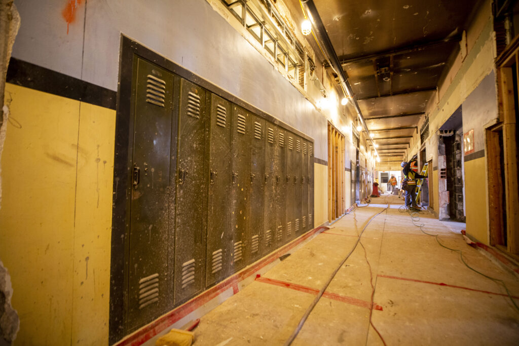 Historic lockers inside Pancratia Hall at Loretto Heights, which is being renovated and will soon contain affordable housing units. Harvey Park South, Feb. 10, 2021.