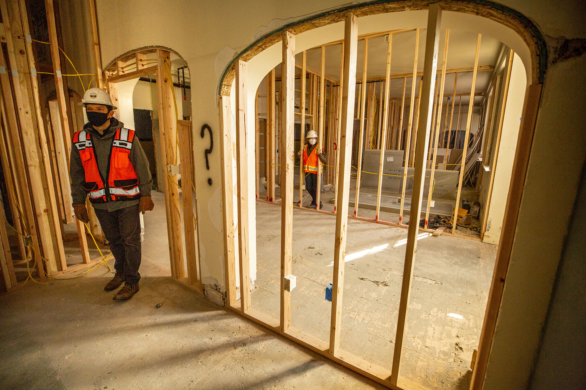 Grant D. Bennett and Susan Ely give a tour of Loretto Heights' historic Pancratia Hall, which is being renovated and will soon become full of affordable housing units. Harvey Park South, Feb. 10, 2021.