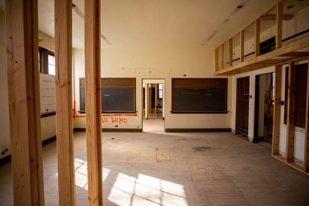 Historic blackboards will remain in the affordable housing units being built in this classroom inside Loretto Heights' Pancratia Hall. Harvey Park South, Feb. 10, 2021.