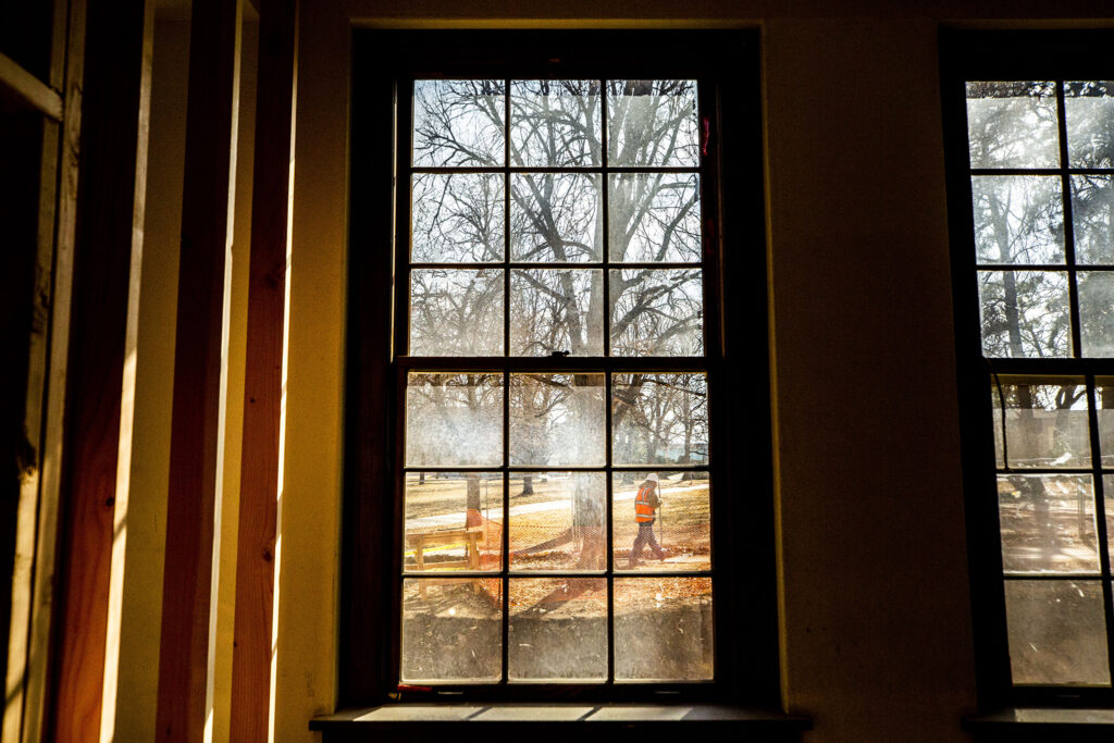 Future residents of Loretto Heights' historic Pancratia Hall, which is being converted into affordable housing units, will have views of green space out of their windows. Harvey Park South, Feb. 10, 2021.