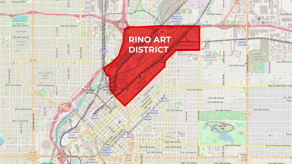 The RiNo Art District's boundaries, which covers parts of Denver's official Five Points and Elyria Swansea statistical neighborhoods.