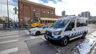 Denver's STAR van drives past the Denver Rescue MIssion at Park Avenue and Lawrence Street. Feb. 12, 2021.