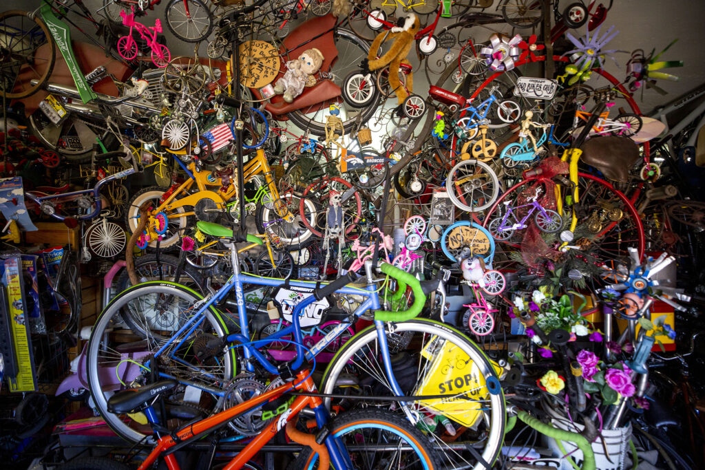 There are a lot of bikes for sale inside Morrison Road's One Stop Bike Shop. Feb. 23, 2021.