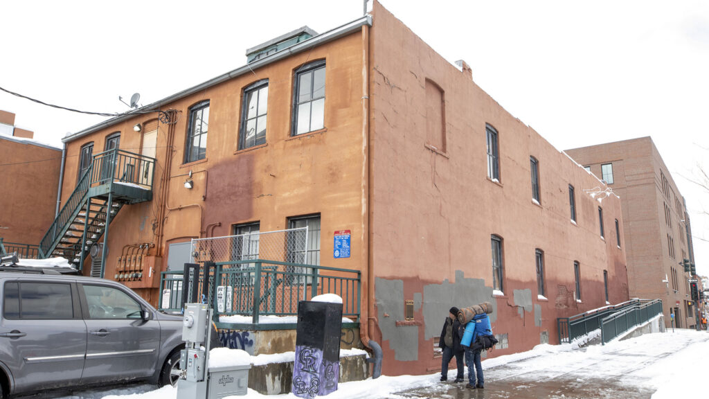 """The site of a historic marker in LoDo that details the """"Chinese Riot of 1880."""" Feb. 25, 2021."""
