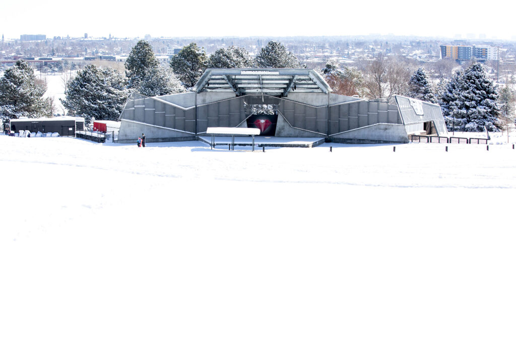 Levitt Pavilion, at the base of a snow-covered Ruby Hill. Feb. 25, 2021.