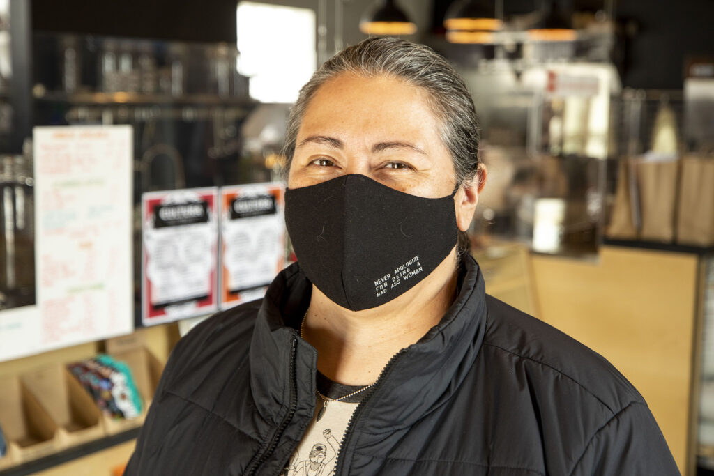 Monica Villalobos, owner of Cabrona Coffee Company, now sells her stuff out of the Cultura Chocolate shop in Re:Vision's space along Morrison Road. Feb. 25, 2021.
