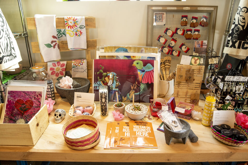 Goods made by members of the RISE Westwood Collective for sale in Cultura Chocolate's space at Re:Vision on Morrison Road. Feb. 25, 2021.