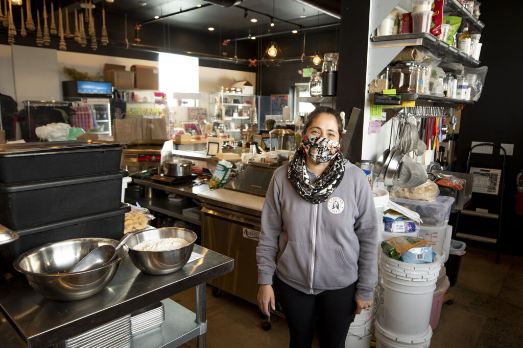 Cultura Chocolate owner Damaris Ronkanen in her space at Re:Vision on Morrison Road. Feb. 25, 2021.