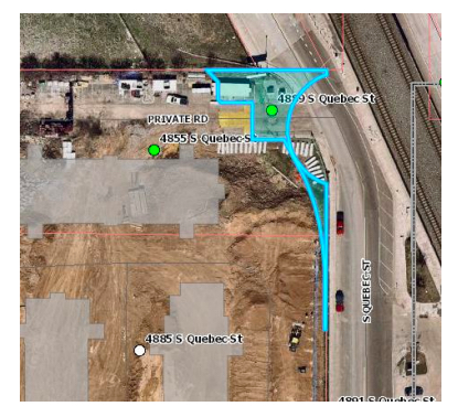 A screengrab of the oddly-shaped parcel, as seen from above, included in city documents for its potential sale.