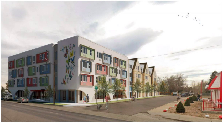 A rendering of a proposed 72-unit housing complex for people experiencing homelessness called Valor on the Fax.