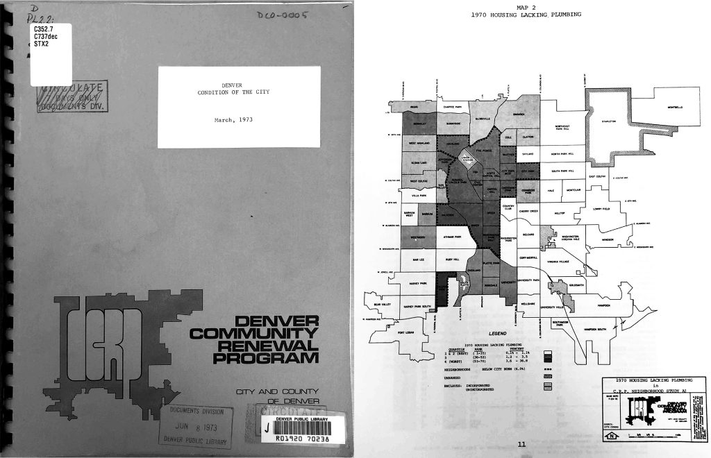 """The front cover of the 1973 """"Condition of the City"""" report, and page 11, which shows areas with the most houses in 1970 that lacked plumbing."""