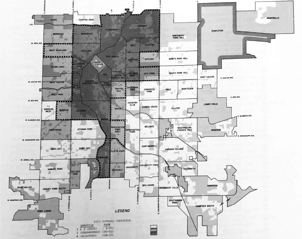 """The """"overall condition"""" map of data from 1970 that determined """"blight"""" (the darkest areas) when Denver first forged official neighborhoods."""