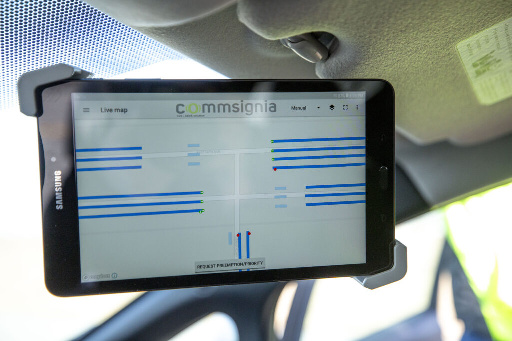 """A tablet in one of Denver's """"connected vehicles"""" that can talk to stoplights. Feb. 11, 2021."""