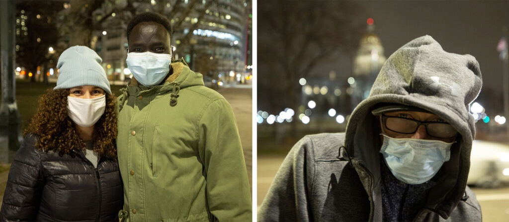 Left: For their first date, Morgan Moses and Ajök Abiar delivered truckloads full of blankets and clothes to people living on Denver's streets. Right: A man named Boston was grateful for the supplies. March 12, 2021.