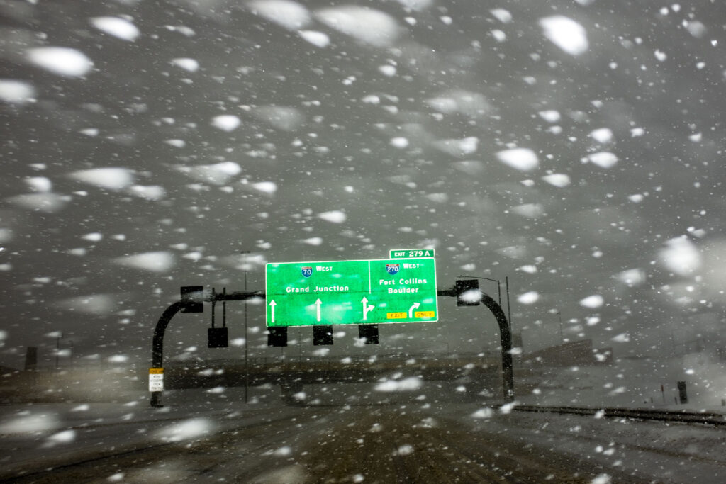 Near whiteout conditions over I-70. March 14, 2021.
