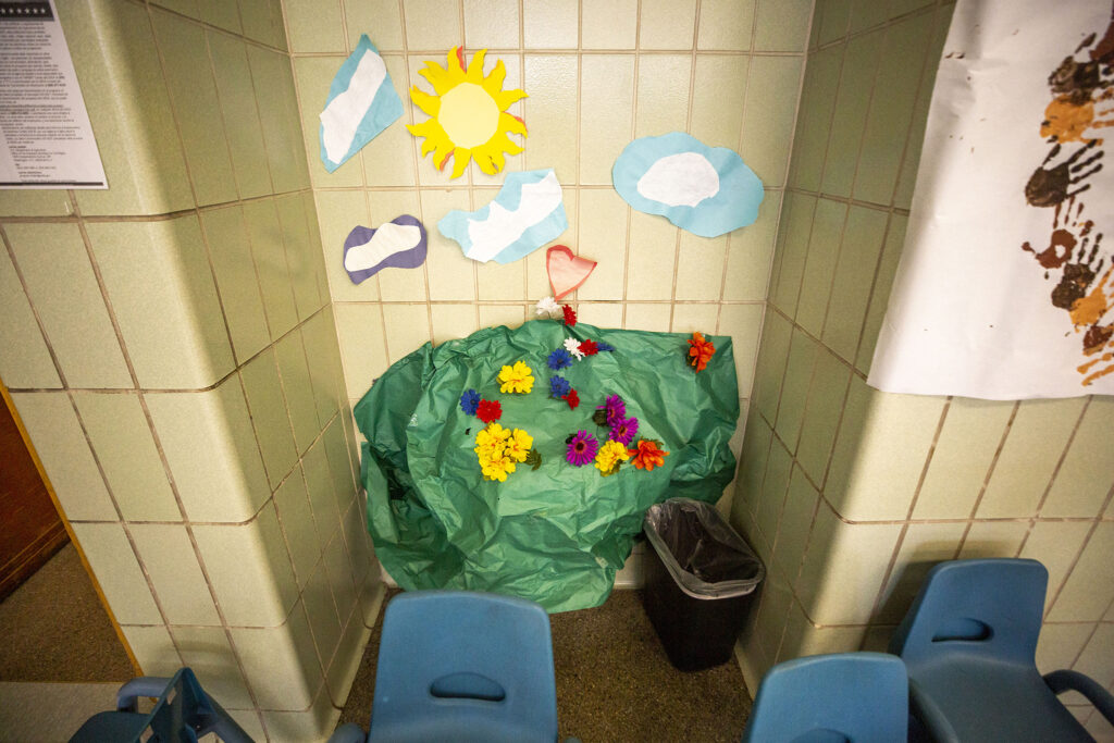Discovery Link students at Carson Elementary School turned a water fountain, covered with a black trash bag to keep kids from using it during the pandemic, into a garden scene. March 17, 2021.