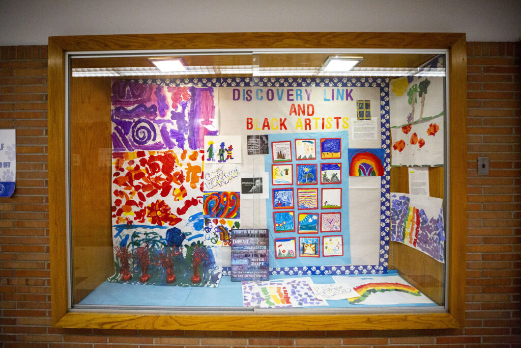 Carson Elementary School's Discovery Link students filled this trophy case with art to celebrate Black History Month.  March 17, 2021.