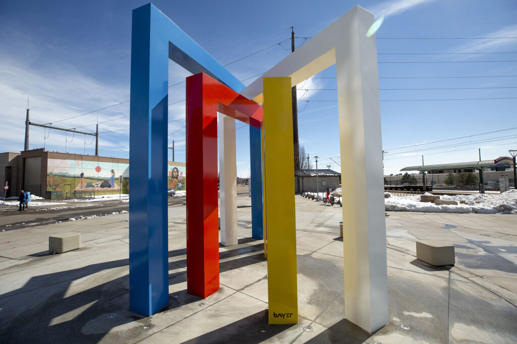 """Four Chromatic Gates,"" a sculpture devised by Herbert Bayer, has been fully realized in an installation at RTD's Alameda Station at South Cherokee Street and West Alaska Place. March 18, 2021."