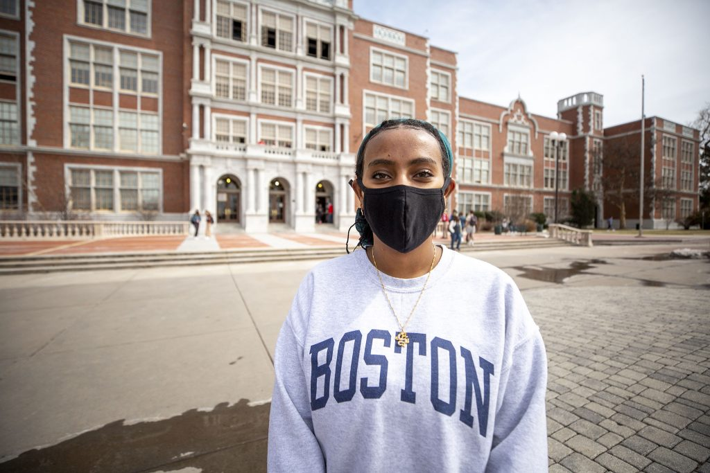 East High senior Hermela Goshu organized a walk-out in solidarity with Boulder on Thursday afternoon. March 25, 2021.