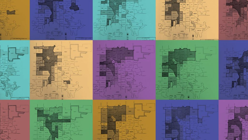 """15 socio-economic indicators mapped in Denver's 1973 """"Condition of the City"""" report, which created the city's official neighborhood shapes and determined where blight existed in the city."""