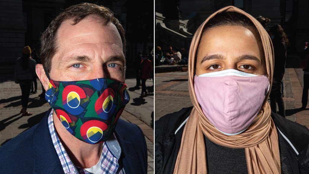 Rep. Jason Crow and Nadeen Ibrahim attended a rally against violence toward Asian and Pacific Islander communities at the state Capitol. March 27. 2021.