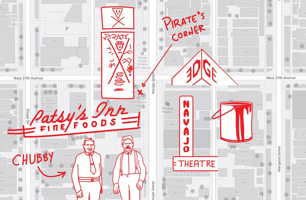 A rendering of Reed Weimer's mental map of a block in LoHi where much of his life played out.