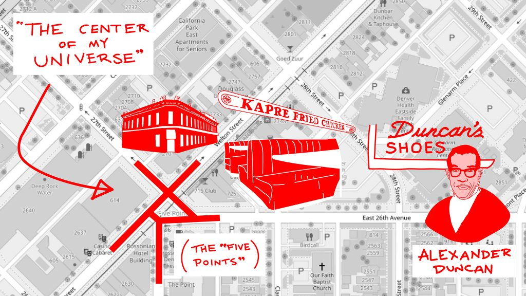 """A rendering of Yvette Freeman's mental map of Five Points, the """"center of her universe."""""""