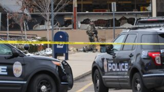 The front windows of the King Soopers on Table Mesa in south Boulder are smashed in, after reports of an active shooter inside on Monday, March 22, 2021.