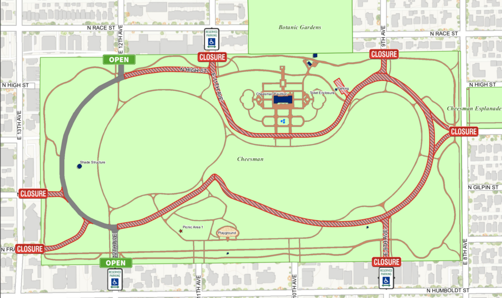Where cars will be allowed at Cheesman Park this spring.