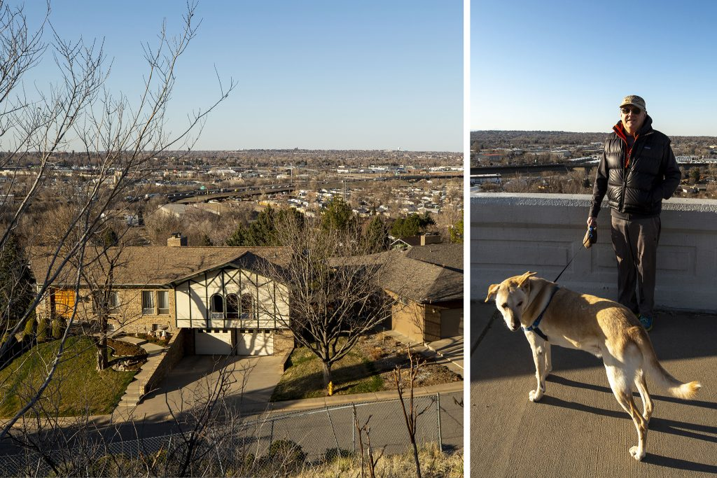 Stan Smith and Cody take a walk through Inspiration Point Park (right) above the neighborhood where he lives at the city's furthest northwest corner. March 31, 2021.