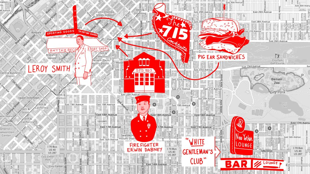 A rendering of Ralph and Charles Dabney's mental map of Denver.