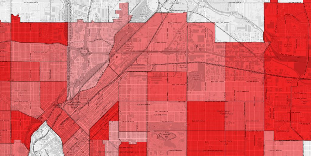 A closer look at Denver's life expectancy data. Lighter colors denote shorter lifespans. Globeville is the light-colored tract surrounding the intersection of I-70 and I-25.