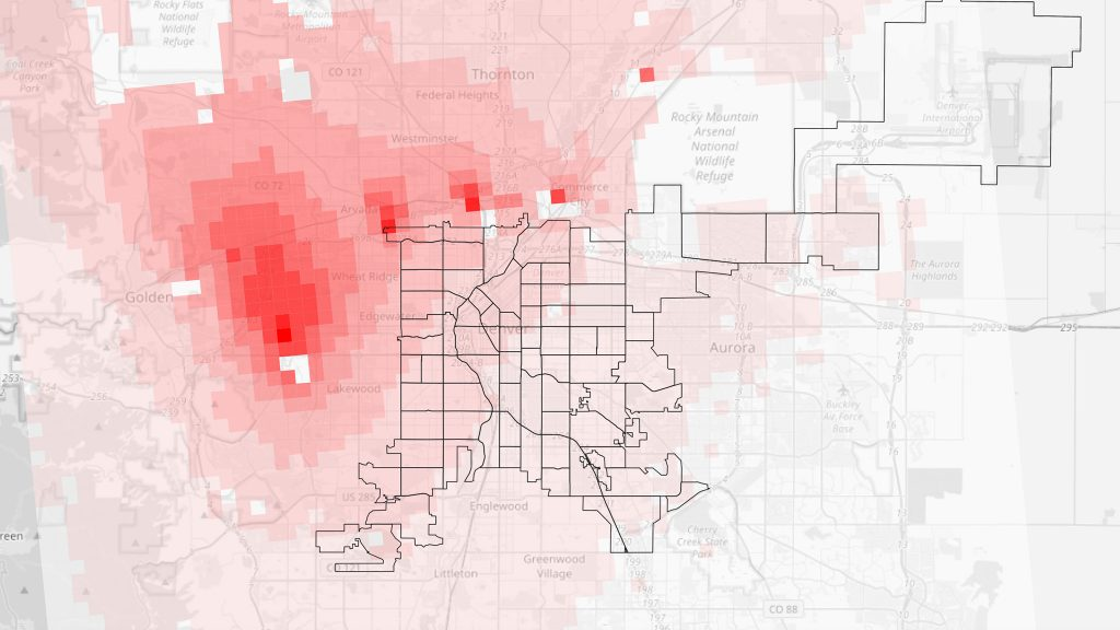 A map of 2019 RSEI risk scores, with population weights removed, in 810-meter squares around the Denver metro.