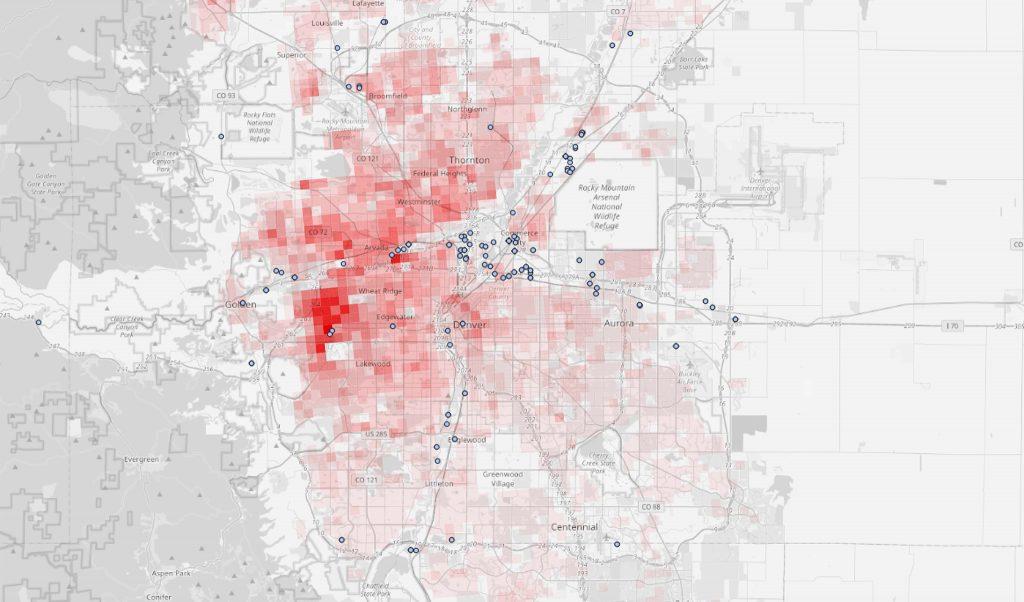 A map of 2019 RSEI risk scores in 810-meter squares around the Denver metro.