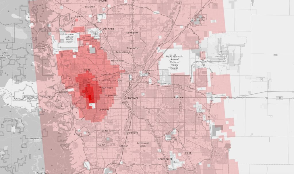 A map of 2019 RSEI risk scores related to the Terumo BCT plant, with population weights removed, in 810-meter squares around the Denver metro.
