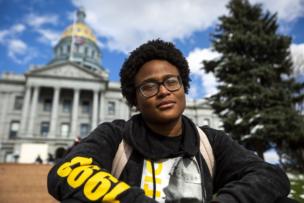 Otavaiah Davis sits on the Capitol steps after a protest against police brutality. April 17, 2021.
