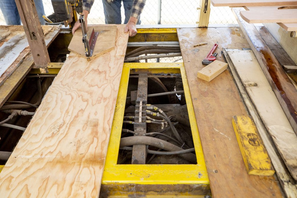 Some of the Denver Trolley's guts are revealed now that rotten floorboards have been removed. April 22, 2021.