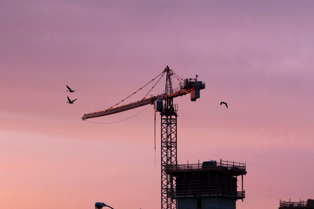 Canada Geese fly by cranes looming above Globeville Landing Park at dawn. April 23, 2021.
