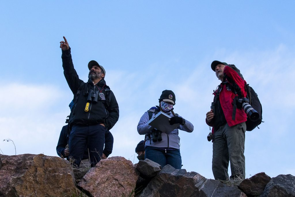John Azua (left to right), Robin Carey and Rich Reading count birds during the third-annual BioBlitz bird count on the South Platte River. April 23, 2021.