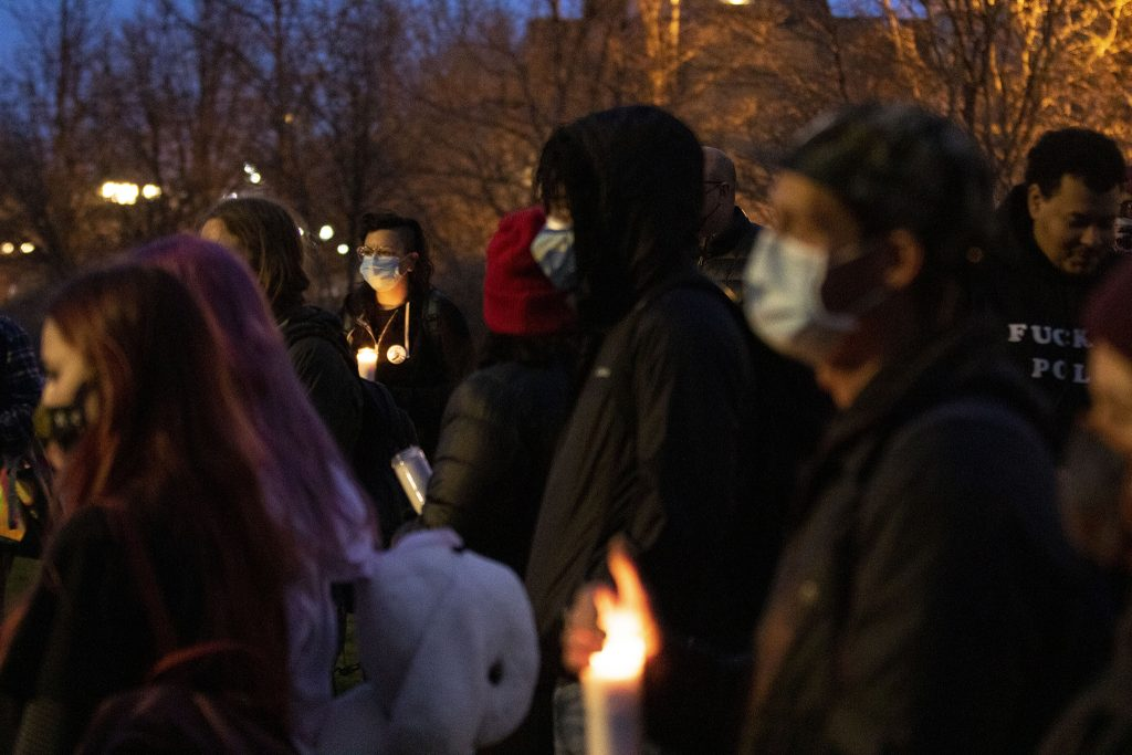 A vigil for people killed by police in America at Commons Park. April 23, 2021.
