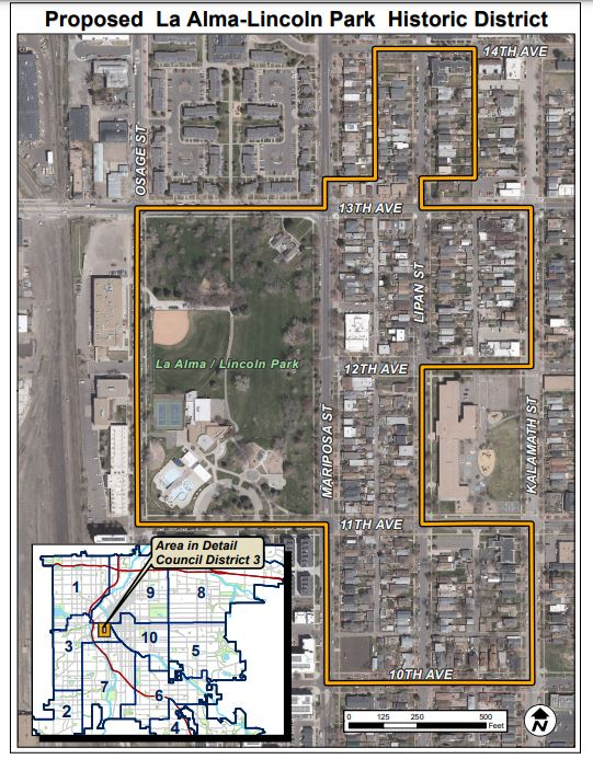 The proposed boundaries for the historic cultural district in La Alma Lincoln Park. Courtesy of the Denver Community Planning and Development.