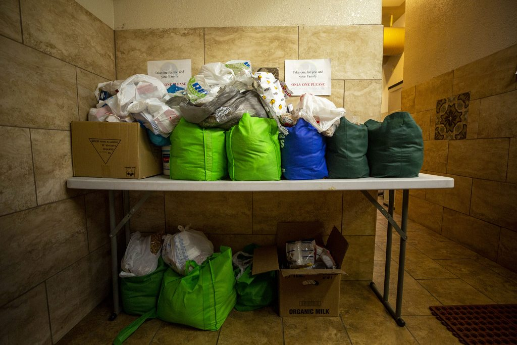 Bags of takeaway groceries at the Downtown Denver Islamic Center.  April 13, 2021.