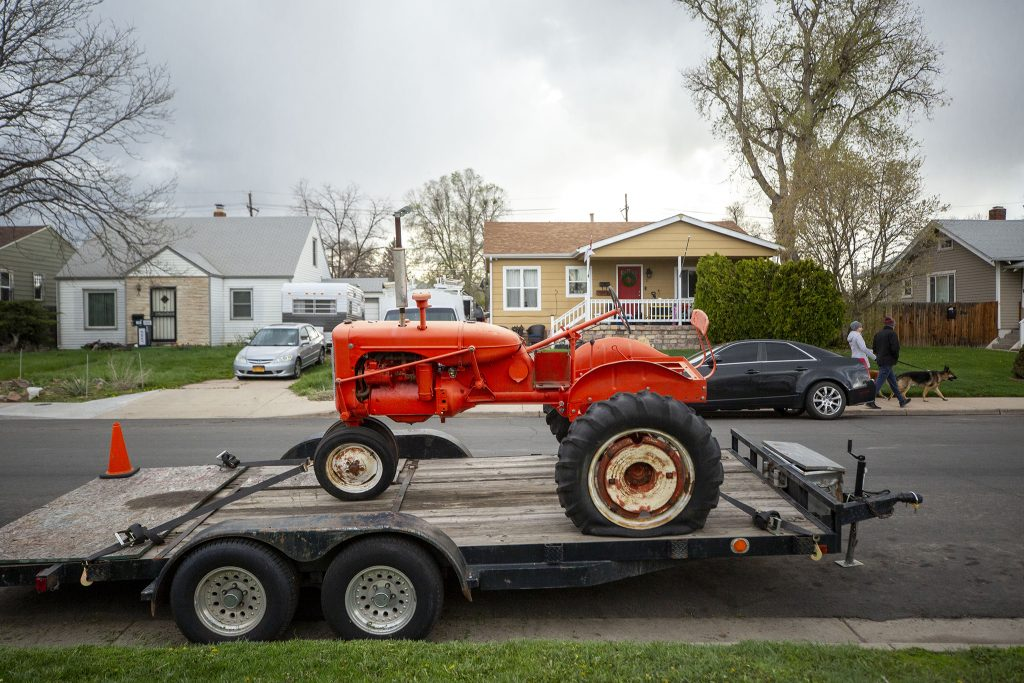 A tractor parked on the side of Julian Street in Barnum. May 4, 2021.