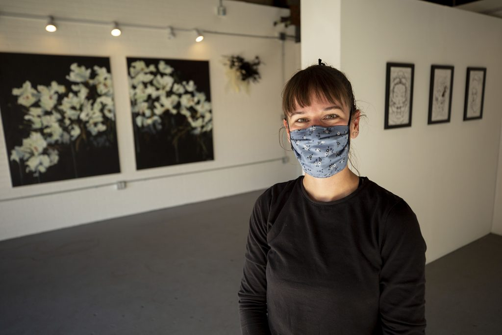 Lindsey Bell stands inside her RiNo Art District space, where she's built out her latest exhibition, Memento Mori. May 6, 2021.