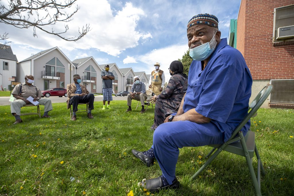 Imam Abdur Rahim Ali works on the weekly grocery giveaway at the Northeast Denver Islamic Center.  May 7, 2021.